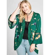 349c4a49a6b8d Oddy Open-Front Floral Kimono with Crochet Trim Detail