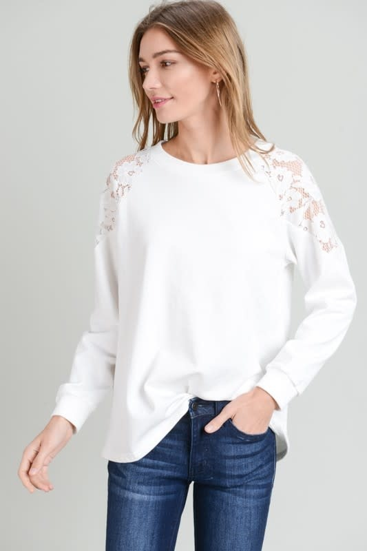 French Terry Lace Contrast Top