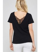 Lace-Trimmed Burnout V-Back Tee