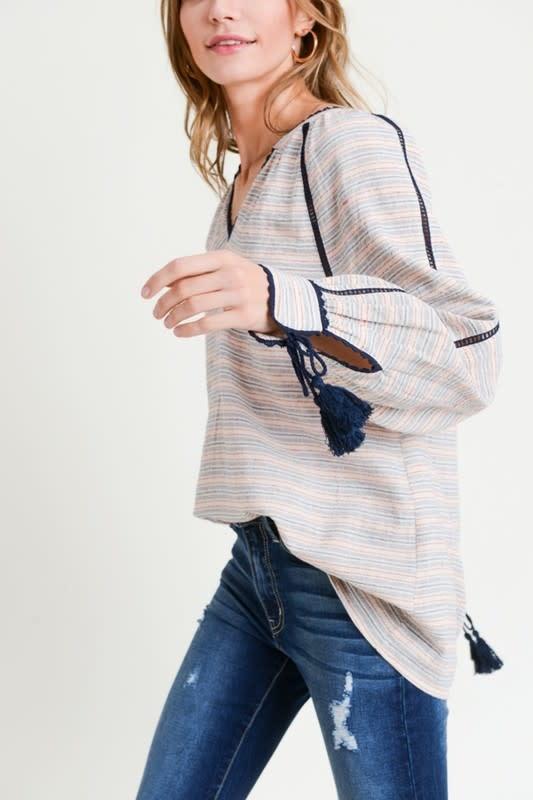 Striped V- Neck Blouse w/ Tassel Cuffs