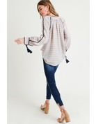 Striped V- Neck Blouse w/ Tassel Cuffs