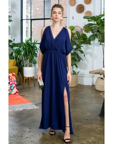 Cold Shoulder Trim Lace Maxi Dress