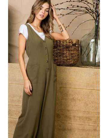 Tie Back V Neck Button Front Jumpsuit
