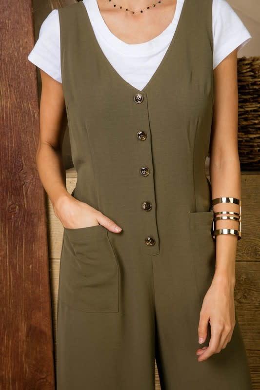 Tie Back V Neck Button Front Jumpsuit