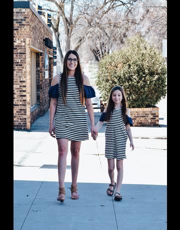 Contrast Sleeve Cold-Shoulder Dress
