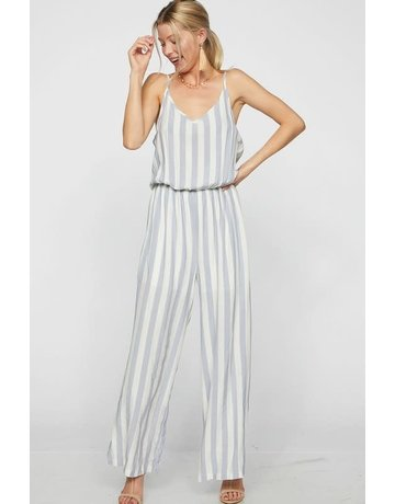 Stripe Woven Sleeveless Jumpsuit