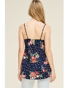 Front Bow Sleeveless Floral Tank