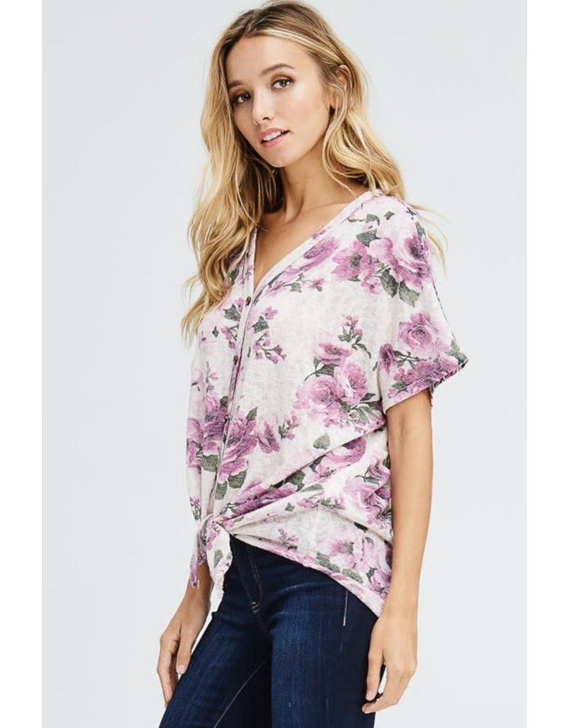 Front Self Tie Floral Knit Top