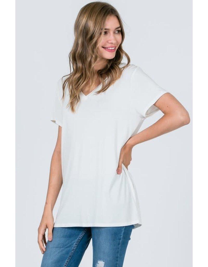 Cap Sleeve V-Neck Basic Top