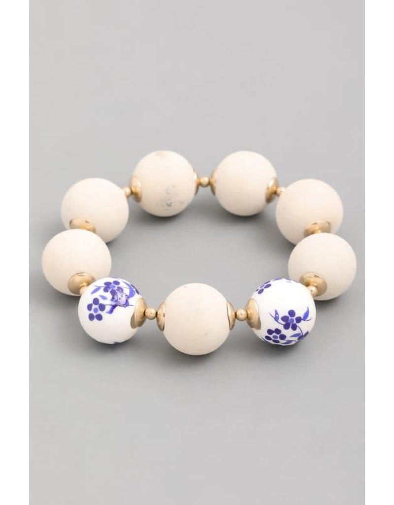 Floral Round Bead Bracelet