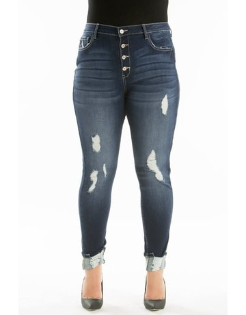 KanCan Curvy High Rise 5 Button Distressed