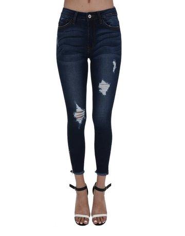 High Rise Distressed Skinny w/ Zipper Detail