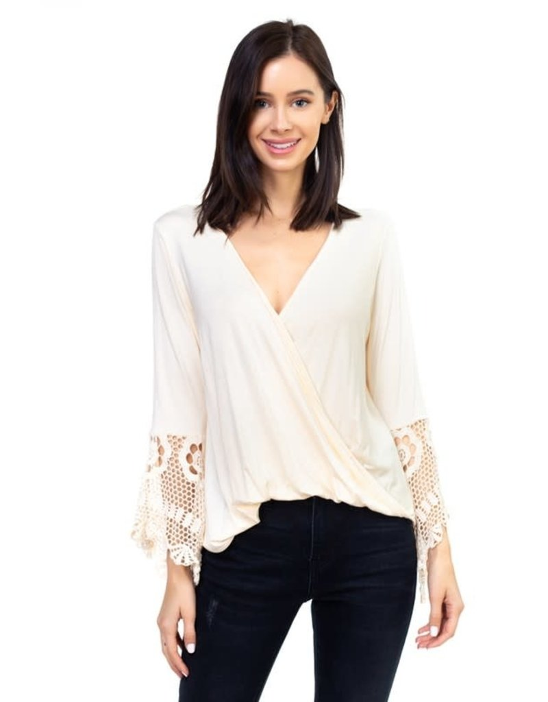 Cross Over Top w/Lace Sleeve Detail