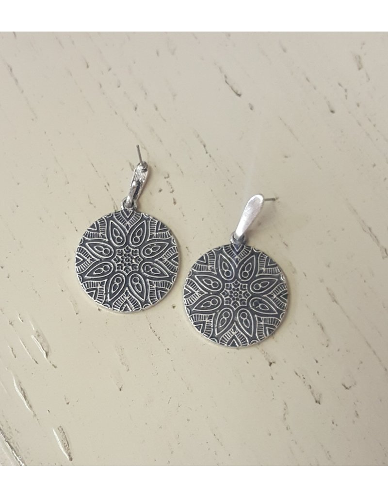 Reversible Engraved Circle Earrings