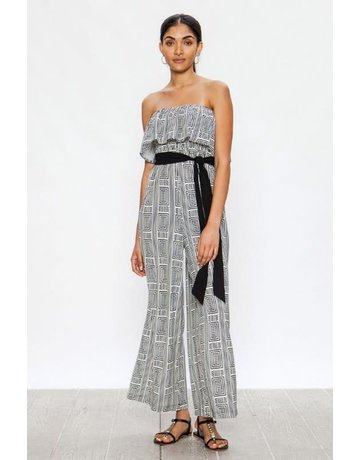 Wide Leg Jumpsuit Geometric Print