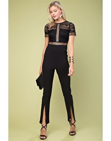 Lace Sheer Back w/Leg Slit Jumpsuit