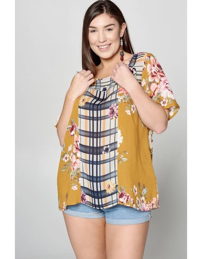 Floral Print Top with Contrast Side Panels