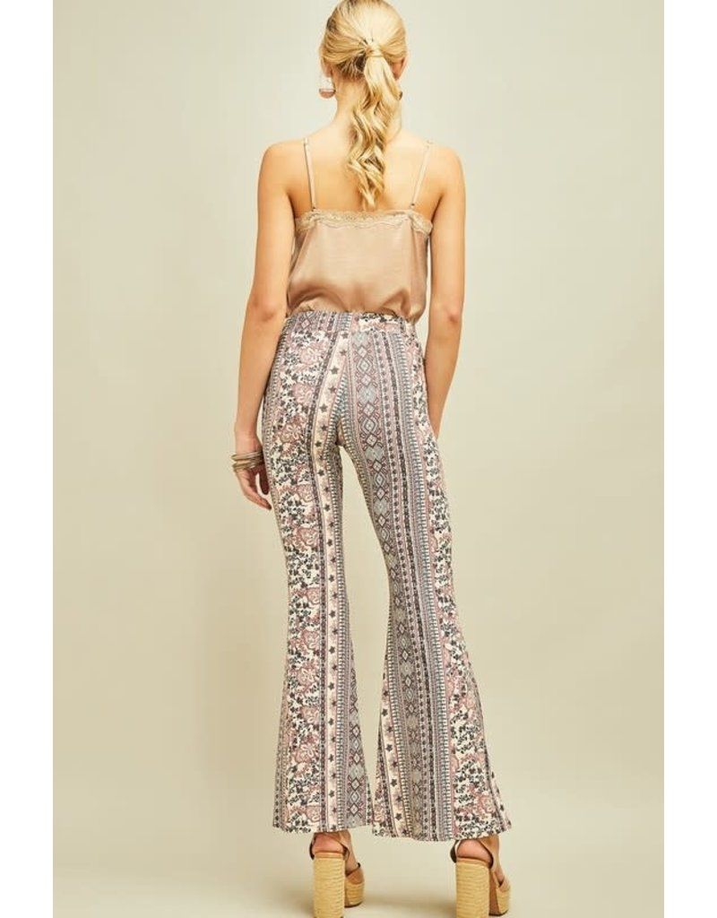 Ornate Print Flare Pants