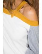 Off Shoulder Contrast Halter Neck Top