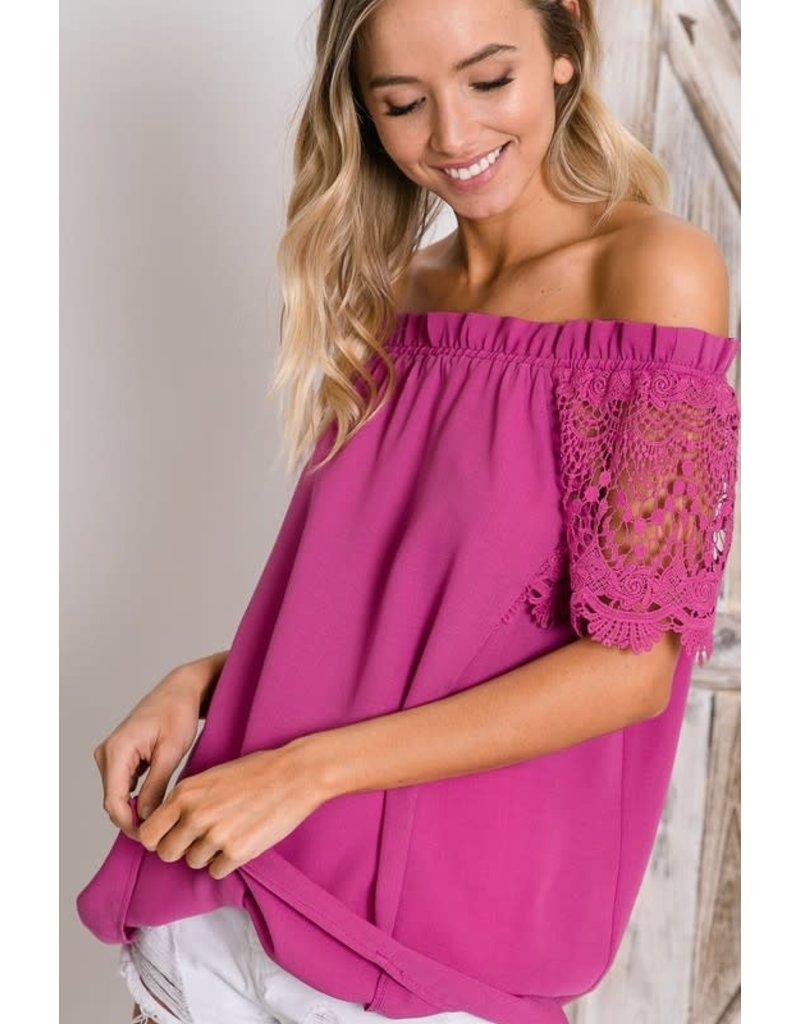 Crochet Lace Sleeve Off-Shoulder Top