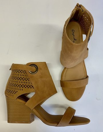 Qupid Tan Cutout Detail Heel