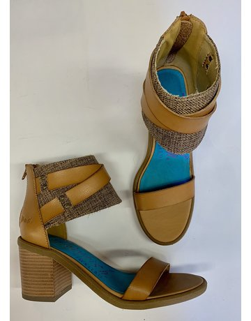 Canvas Tan Belted Heels