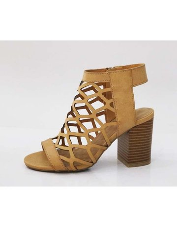 Natural Open Toe Cutout Booties