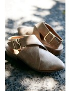 LA Shoe King Taupe Strap Back Loafers