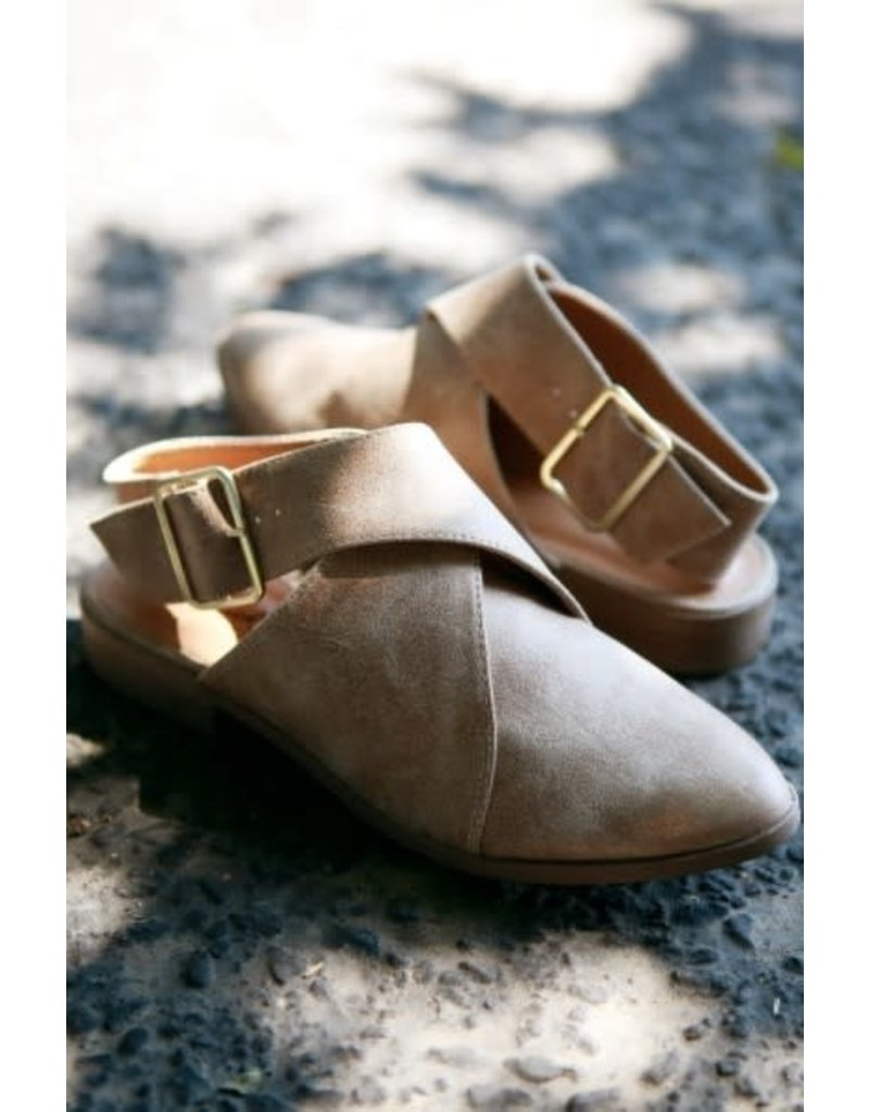 Taupe Strap Back Loafers