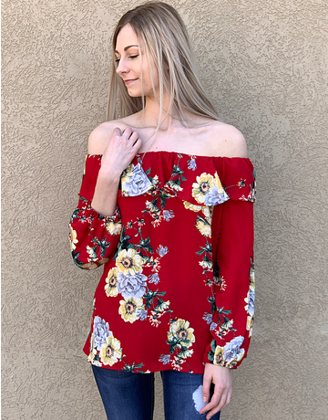 Floral Ruffle Off the Shoulder Top