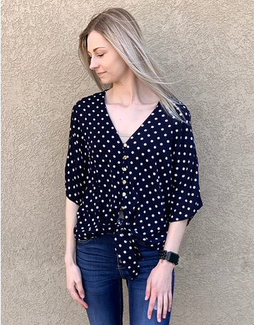 Polka Dot Woven Self Tie Top