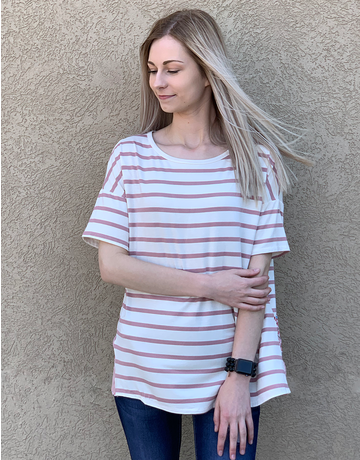 Striped Open Back Floral Tee