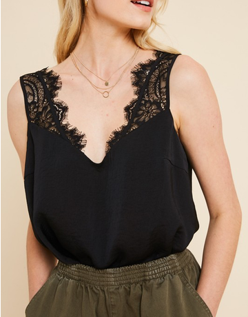 Satin Lace Trimmed Top