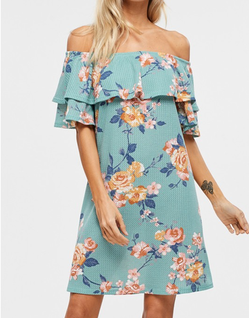 Off The Shoulder Floral Knit Dress