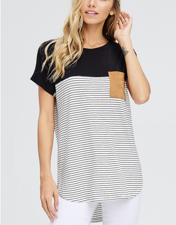 Front Pocket Short Sleeve Striped Top