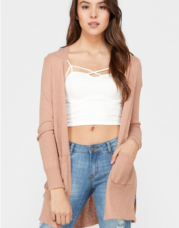 Long Sleeve Fine Boucle Cardigan