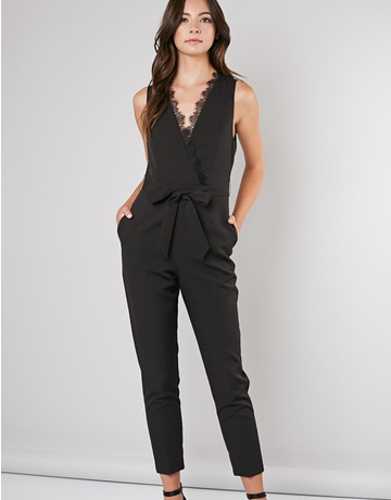 Lace Wrap V-Neck Jumpsuit