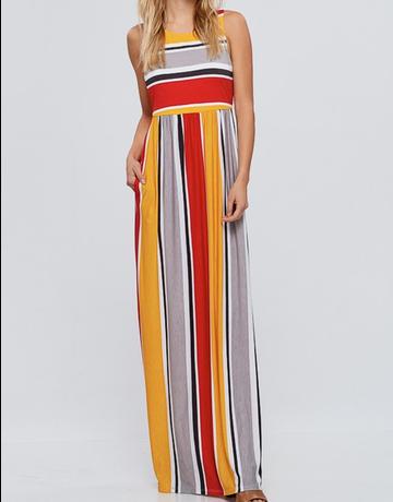 Striped Maxi Dress w/ Pockets