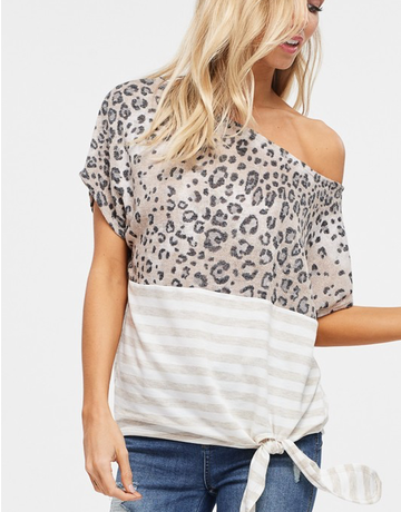 Off the Shoulder Cheetah & Striped Top