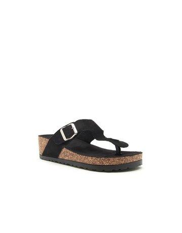 Qupid Cork One Toe Strap Sandal