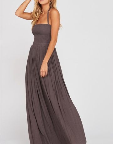 Smocked Halter Cross Strap Maxi Dress