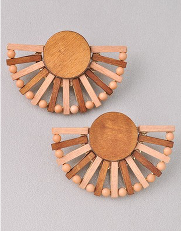 Wood Half Circle Earring
