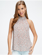 Sleeveless Floral Print Mock Neck Top