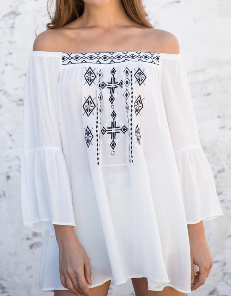 Off The Shoulder Embroidered Top
