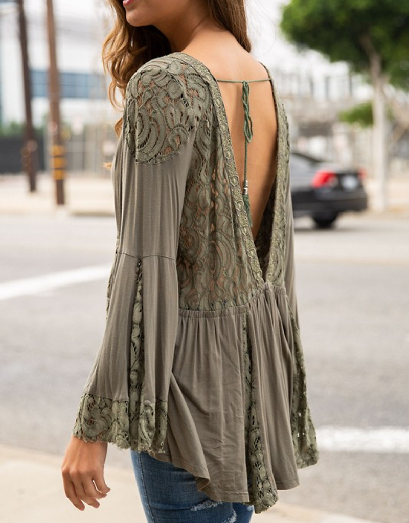 Lace Top With Back Tassels