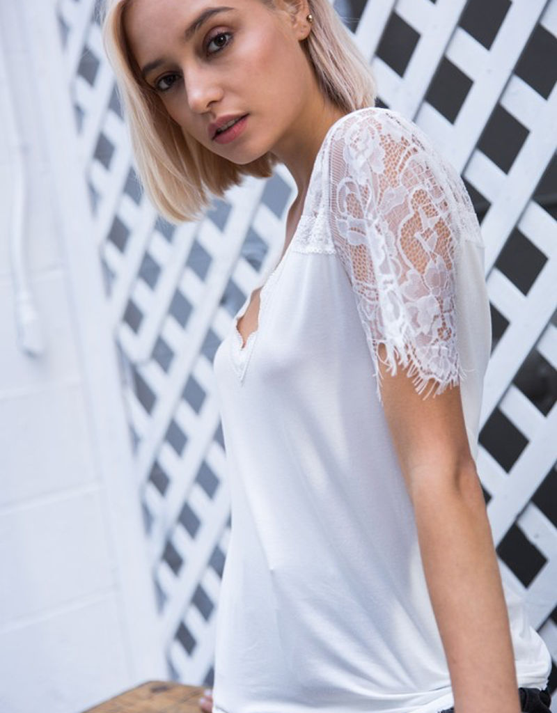 Lace Trimmed Low V-Neck Top
