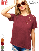 Short Sleeve Distressed Laser Cut T Shirt