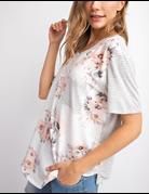 Floral and stripe front pocket Tshirt