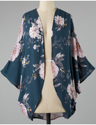 Flower Print Woven Kimono