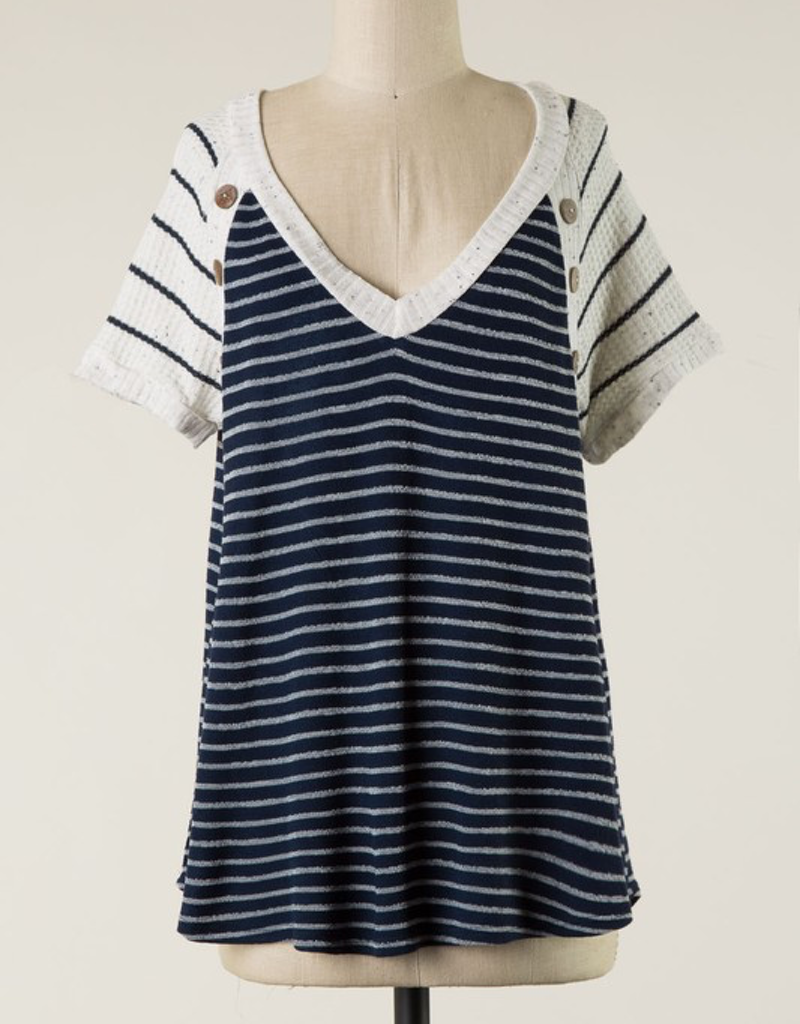 Striped Shoulder Button Tee